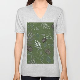 Simple and stylized flowers 15 Unisex V-Neck
