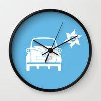 bmw Wall Clocks featuring BMW Isetta by Clemens Hellmund