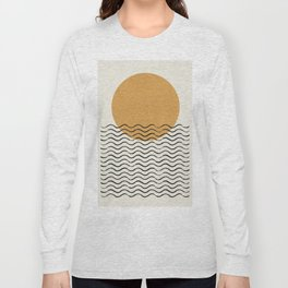 Ocean wave gold sunrise - mid century style Long Sleeve T-shirt