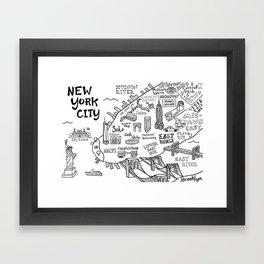 New York City Map Framed Art Print