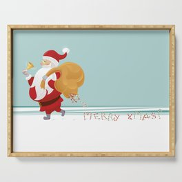 Santa and Small Red Bird Serving Tray