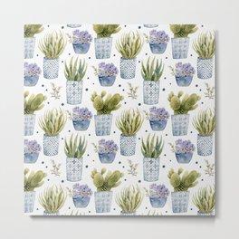 cactus in patterned pots pattern Metal Print