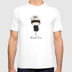 Black Tea Girl MEDIUM Mens Fitted Tee White