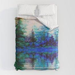 BLUE SCENIC MOUNTAIN PINES LAKE REFLECTION ART  PATTERNS Duvet Cover
