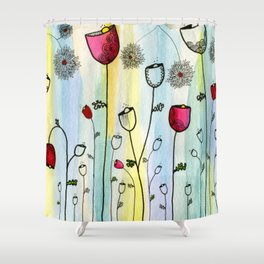 Poppies Watercolor and Ink Illustration Shower Curtain