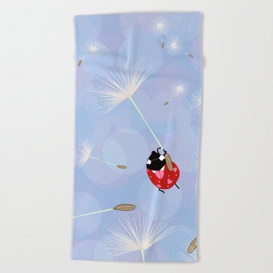 Cute Lady Bug Design Beach Towel