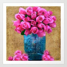 BALL MASON JAR AND ROSES Art Print