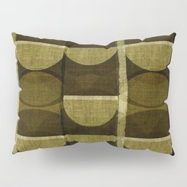 """""""Retro Olive green Chained Circles"""" Pillow Sham"""