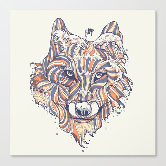 Wave Wolf Canvas Print