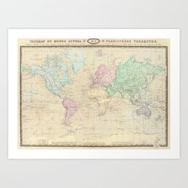 Vintage Map of The World (1862) Art Print