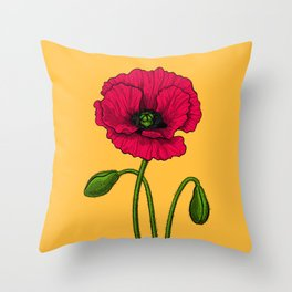 Red poppy drawing Throw Pillow