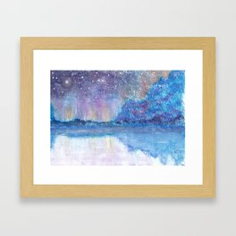 Watercolor Blue Island Framed Art Print