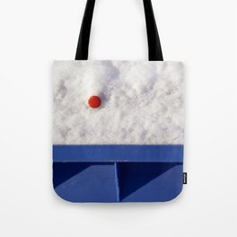 Red Dot In White Snow On Blue Container Tote Bag