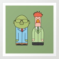 muppets Art Prints featuring Bunsen & Beaker – The Muppets by Big Purple Glasses