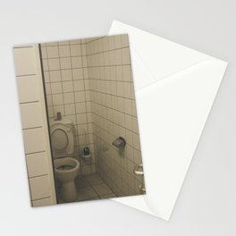 Toilet with white tiles all over Stationery Cards