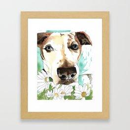 Watercolor Wildflowers & her Bestie Framed Art Print