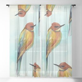 Watercolor Bird Pattern - Multicolor Feathers - Abstract Blue Sky Sheer Curtain