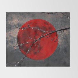 Modern Blood Red Moon Rain Gothic Decor A175 Throw Blanket