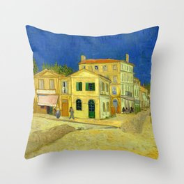 """Vincent Van Gogh """"The yellow house ('The street')"""" Throw Pillow"""