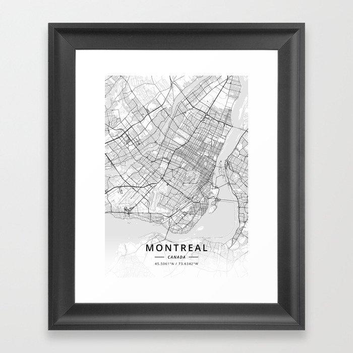 Montreal, Canada - Light Map Gerahmter Kunstdruck