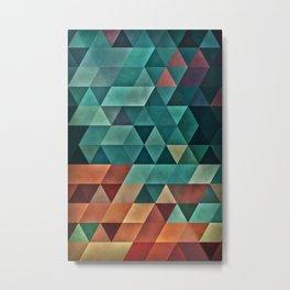 Teal/Orange Triangles Metal Print