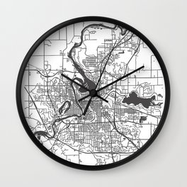 Eau Claire Road Map Wall Clock