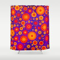 hippy Shower Curtains featuring Turquoise Hippy Flower Pattern by Hippy Gift Shop