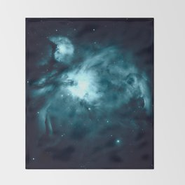 Teal Orion nebula : Hauntingly Beautiful Space Series Throw Blanket