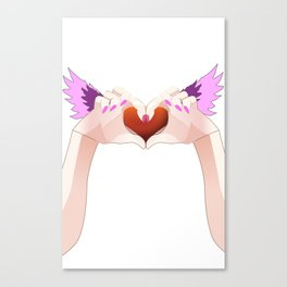 Two hands make a Heart with a Flaming wings Canvas Print