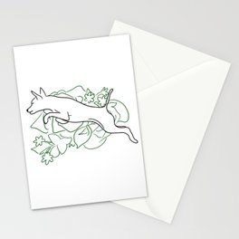 Jumping dog and flowers  Stationery Cards