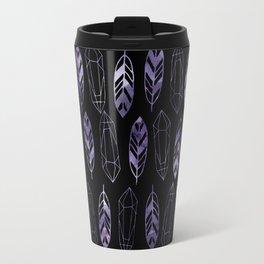 Purple Feathers and Gems on Black Pattern Travel Mug