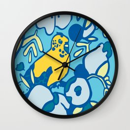 Yellow Bird in Paradise Wall Clock