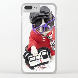 Boston Terrier Photographer Clear iPhone Case