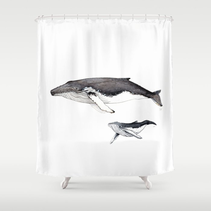 North Atlantic Humpback whale with calf Shower Curtain