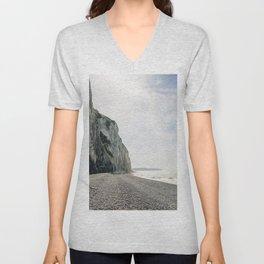 Pastel cliff on pebble beach Normandy, France - Travel Photography fine art wall print Art Print Unisex V-Neck