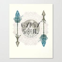 Gypsy Soul - Wanderlust Mountain Moon Tribal Arrows Hippy Mandala Canvas Print