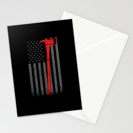American Fire Department Ax Rescue Motive Stationery Cards