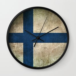 Old and Worn Distressed Vintage Flag of Finland Wall Clock