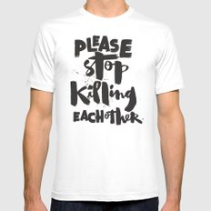 Please Stop Killing Each Other White Mens Fitted Tee MEDIUM
