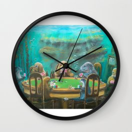 Pinnipeds Playing Poker Wall Clock