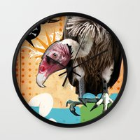 woodstock Wall Clocks featuring COLLAGE: Woodstock Funeral by Diavu'