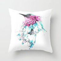 hummingbird Throw Pillows featuring Hummingbird by Alexis Marcou