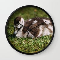 ryan gosling Wall Clocks featuring Gosling by Pati Designs