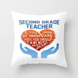 2nd Grade Teacher Throw Pillow