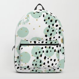 Dots and dashes pop rain colorful abstract design mint Backpack