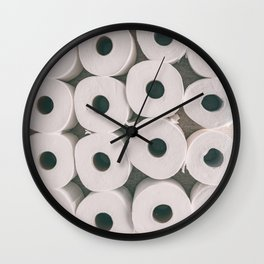 Toilet paper rolls background texture Wall Clock