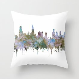 Chicago Skyline Pastel Khaki Purple Teal Watercolor Chicago Art USA Decor Art Travel Throw Pillow