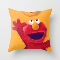 elmo Throw Pillows featuring Cookies 2 by Lime