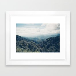 misty mountain morning Framed Art Print