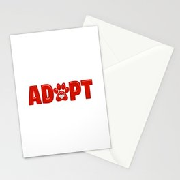Shiny Red ADOPT Animal Paw Print with  White Heart Stationery Cards